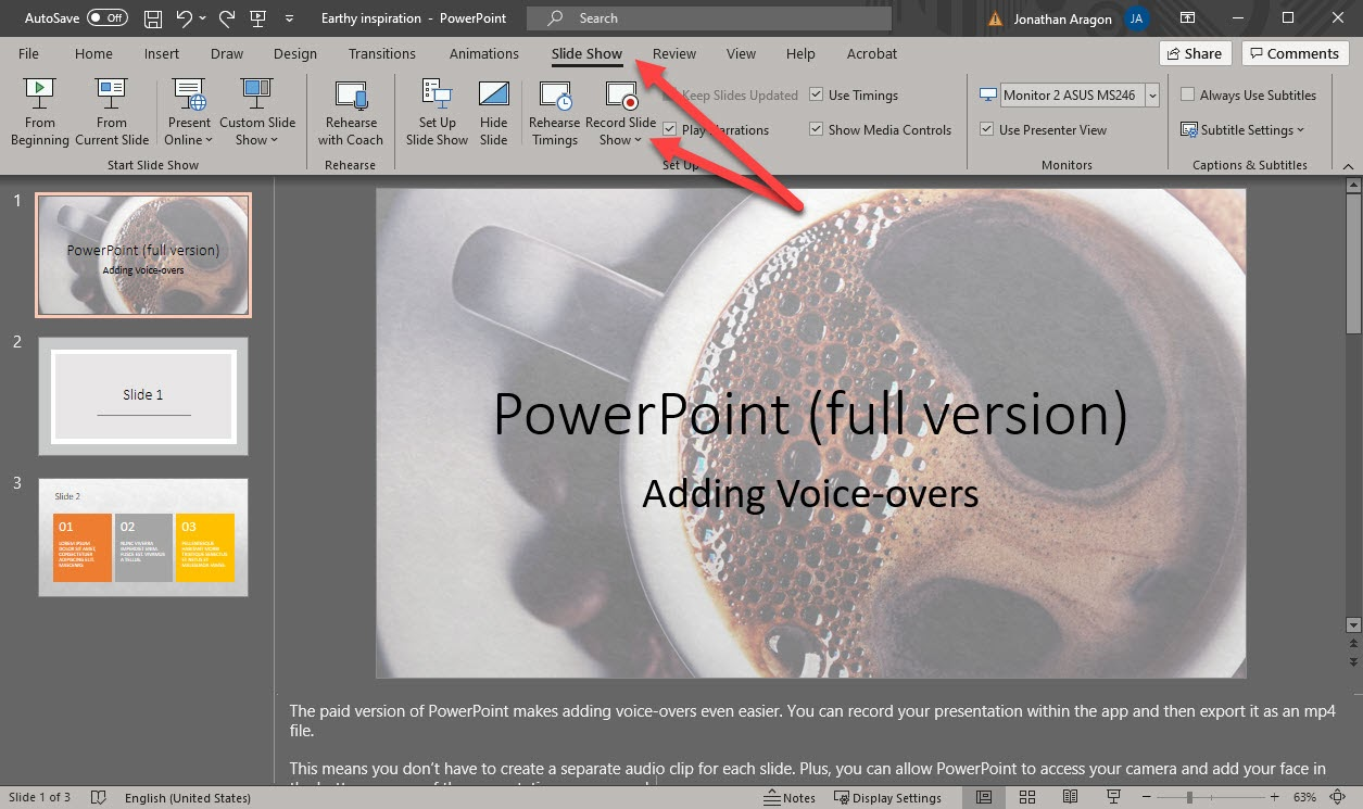 Screenshot of choosing Slide Show > Record Slide Show in PowerPoint