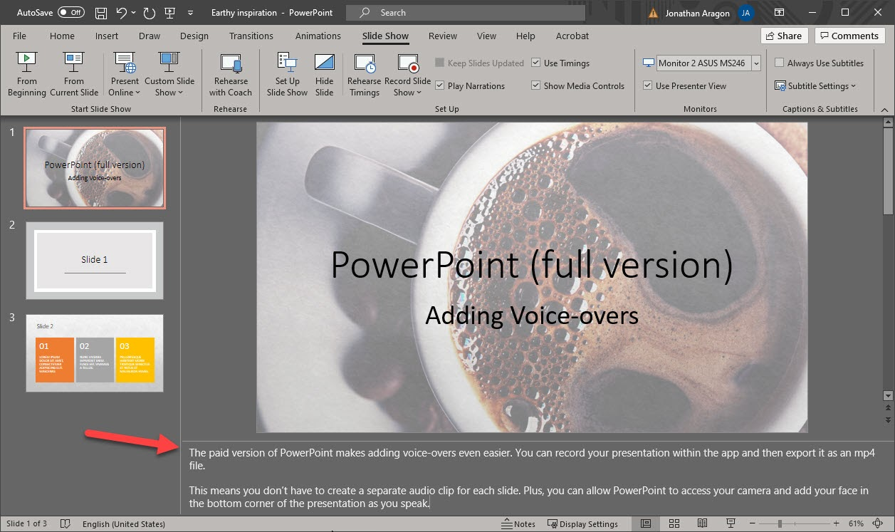 Screenshot of how to upload audio files to a PowerPoint presentation