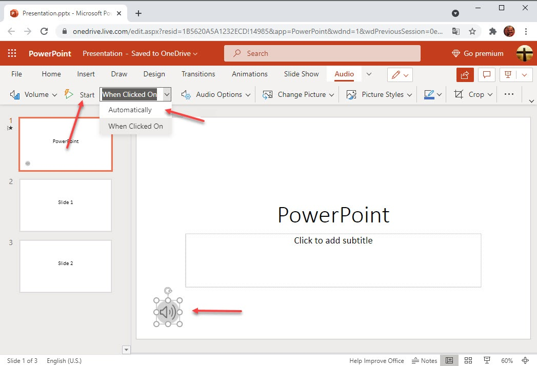 Screenshot of how to format audio files in a PowerPoint presentation