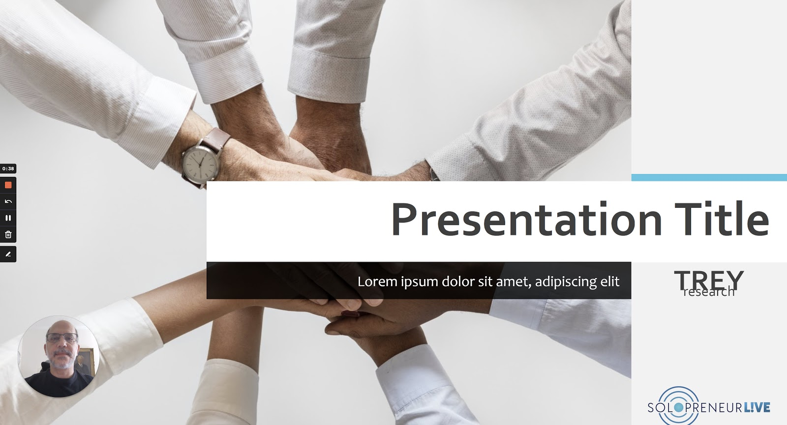 Example of a fake presentation with a voiceover video embedded
