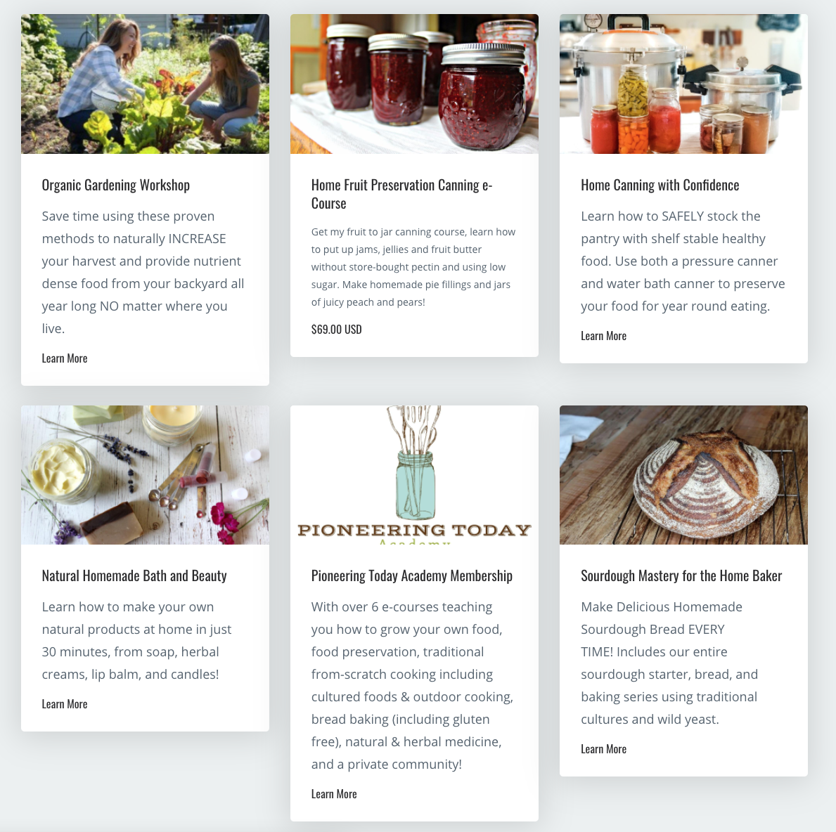 Screenshot of six courses on homesteading, including organic gardening, canning, fruit preservation, homemade bath and beauty, and sourdough bread baking