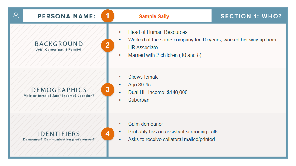 Screenshot of a Hubspot guide to creating a persona with background, demographics, and identifiers