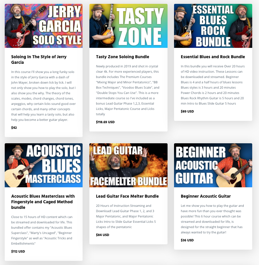 Screenshot of the Marty Music website showcasing six different guitar courses, including Soloing in the Style of Jerry Garcia, Essential Rock and Blues, and Beginner Acoustic Guitar