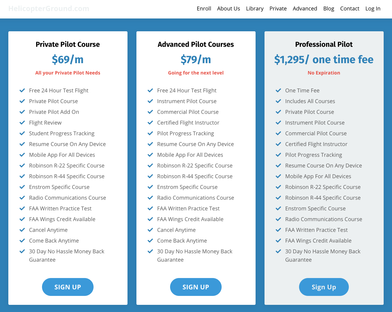 Screenshot of the Helicopter Ground School pricing, offering courses at $69 per month, $79 per month, or a one time fee of $1,295
