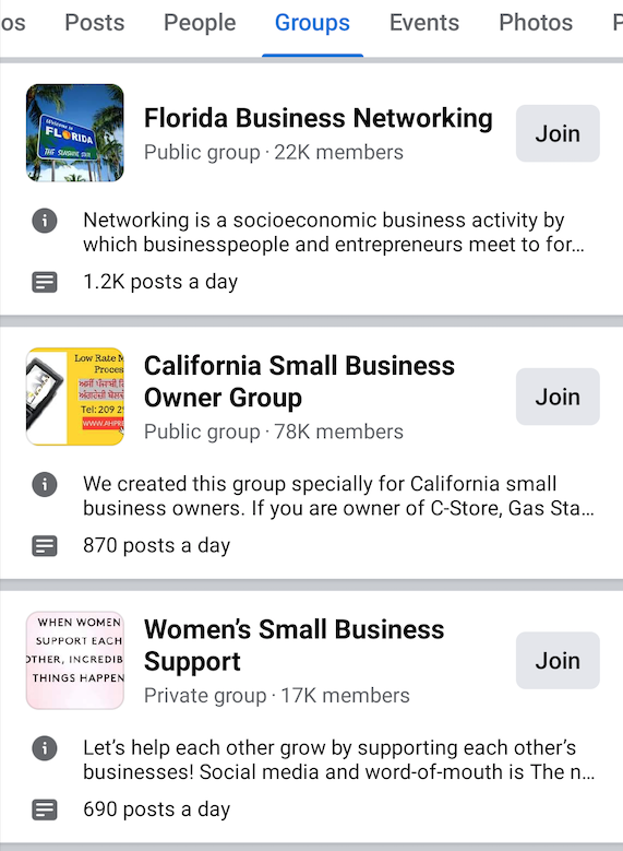 Screenshot of three Facebook groups: Florida business networking, California Small Business Owner Group, and Women's Small Business Support