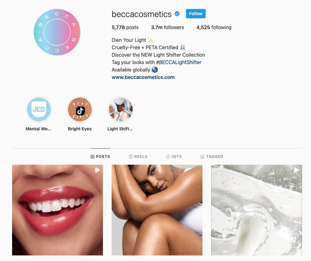 Screenshot of the Becca Cosmetics Instagram account showing 3.7 million followers