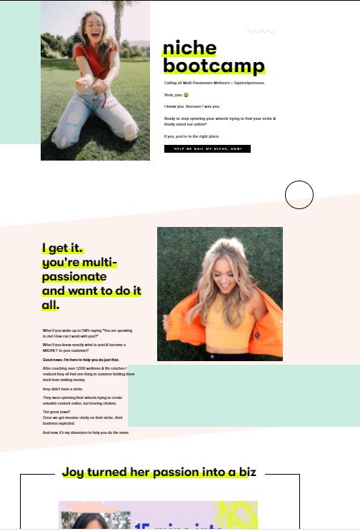 Angie Lee's Niche Bootcamp website