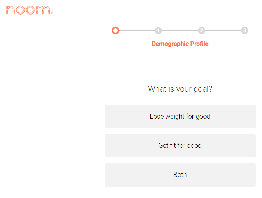 Screenshot of a Noom quiz asking for the user's goal with choices: lose weight for good, get fit for good, or both