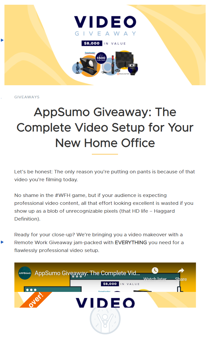 Screenshot of the AppSumo video giveaway