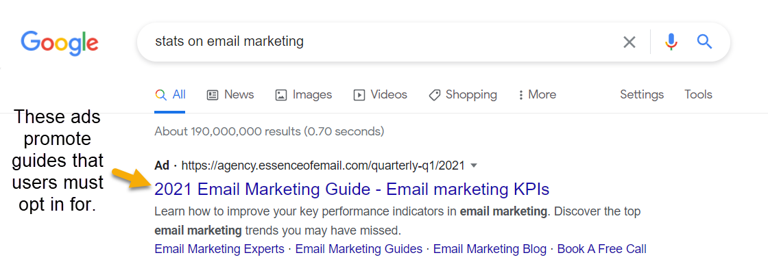 """Screenshot of the google search results for """"stats on email marketing"""" with a paid ad at the top promoting a 2021 email marketing guide"""