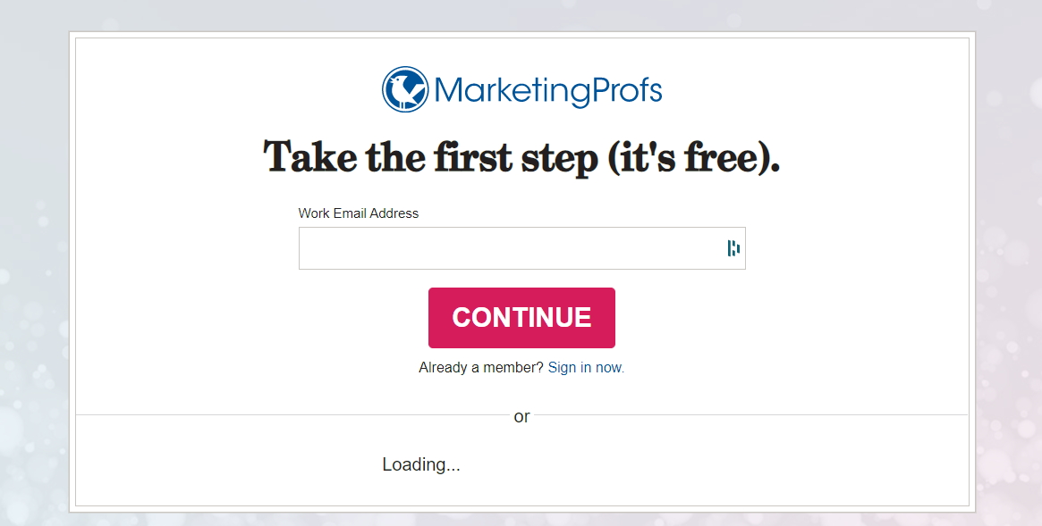 MarketingProfs opt-in form asking for a work email address