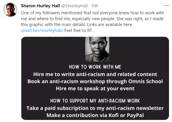 Screenshot of a tweet from @SHurleyHall with a list of ways to work with her and support her anti-racism work
