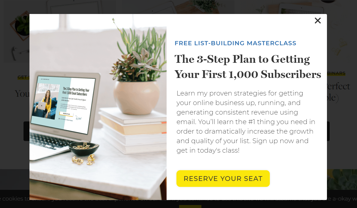 Amy Porterfield opt-in form for a Free List Building Masterclass evergreen webinar