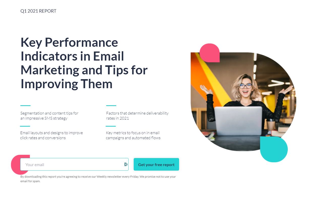 screenshot of the Q1 2021 report on Key performance indicators in email marketing