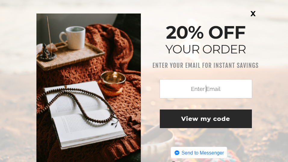 Screenshot of a pop up offering 20% off the first order for entering their email