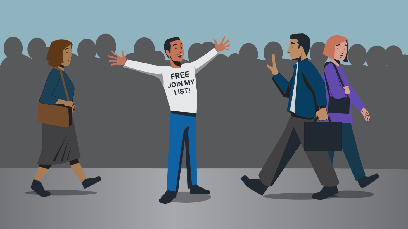 """illustration of a man wearing a shirt that says """"Free Join My List"""" to passerby"""