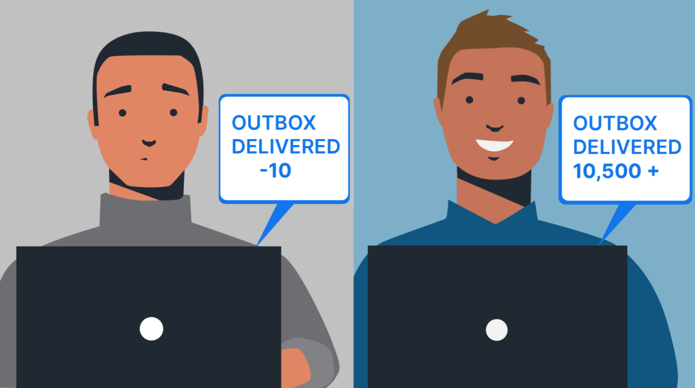 """Illustration of two men in front of laptops. One says """"outbox delivered -10"""" and the other with a happy expression says """"outbox delivered 10,500+"""""""