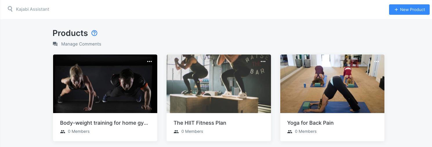 Screenshot of the Kajabi product creator showcasing three fitness courses