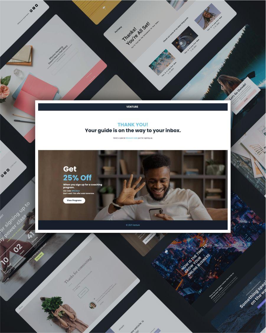 Venture thank you landing page template screenshot