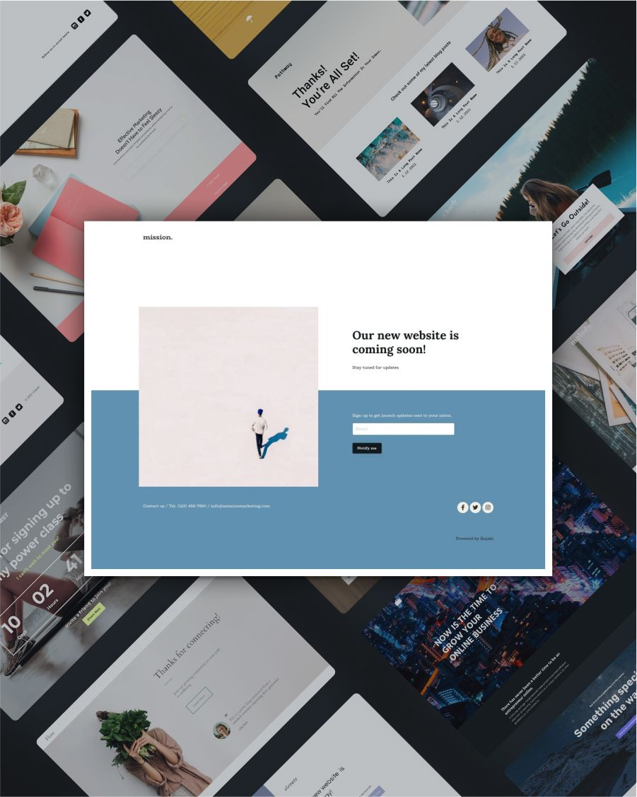 Mission marketing coming soon landing page template screenshot
