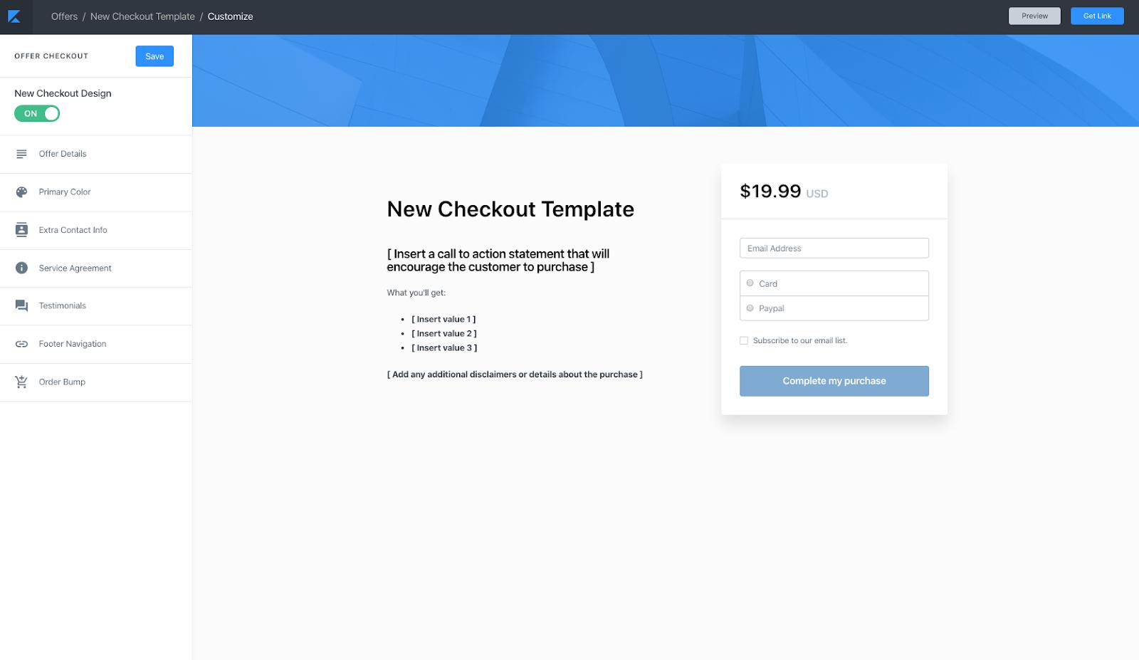 Offer checkout customization page in Kajabi app