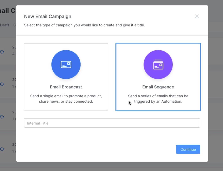 screenshot of the Kajabi app showing the email campaign creator module