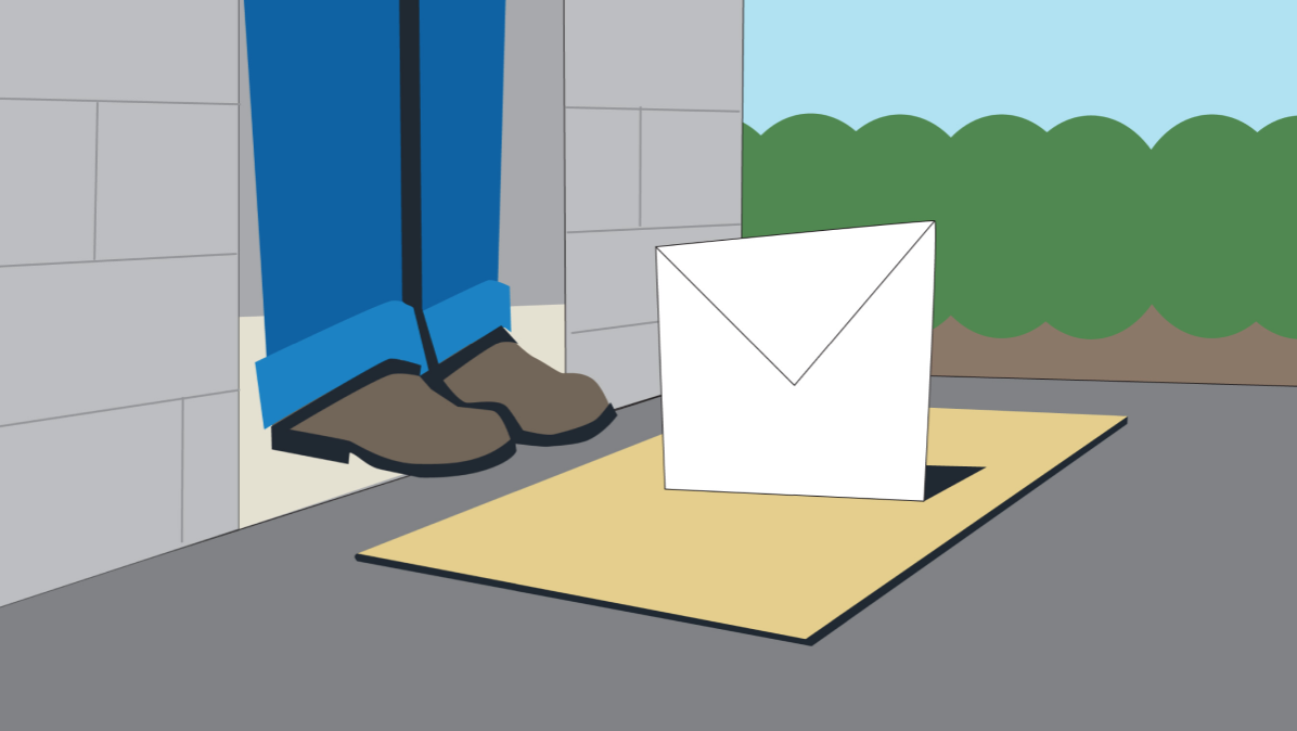 Illustration of a person at doorstep with an email on their welcome mat