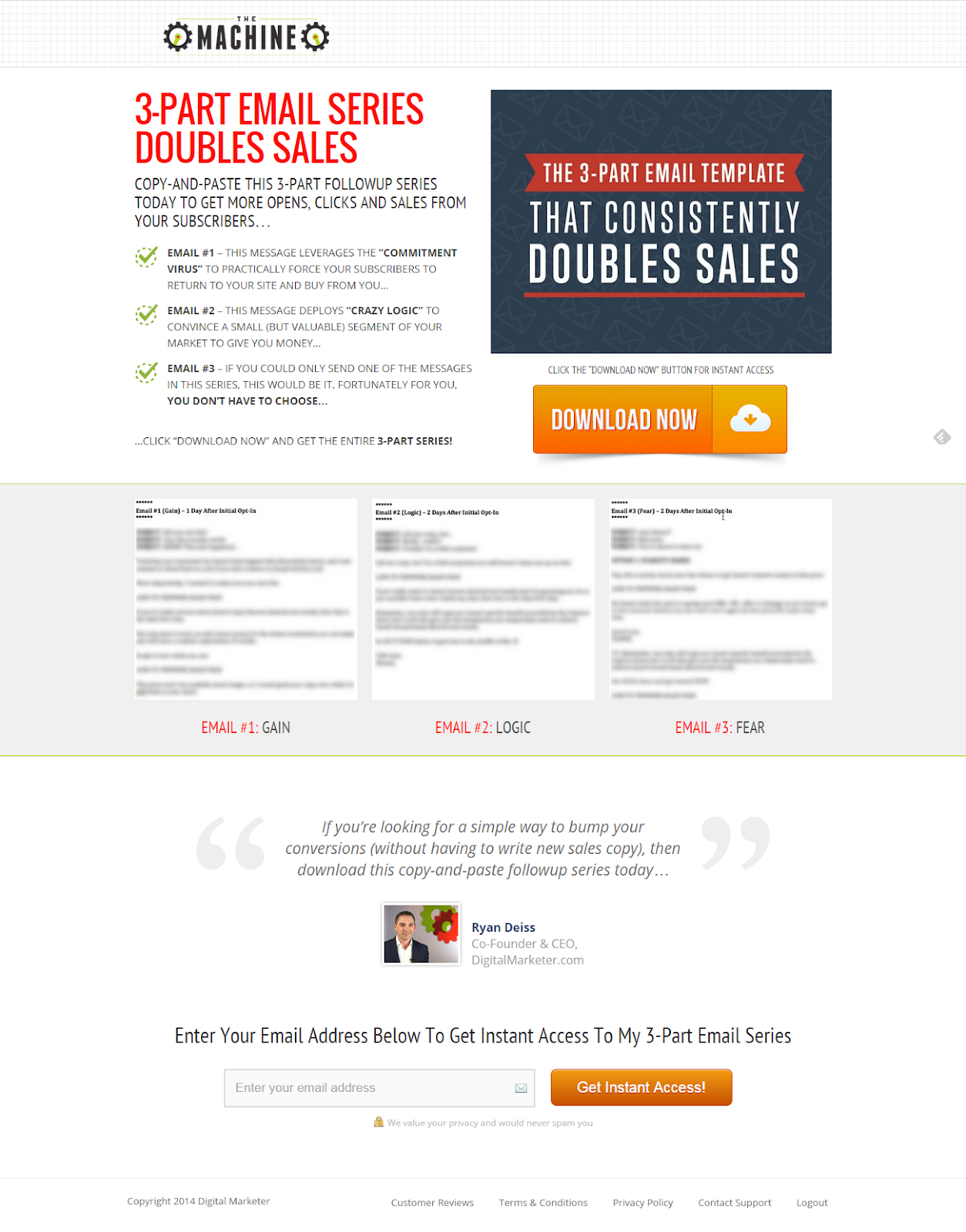 Screenshot of a lead magnet page offering a lead magnet with a three part email template to increase sales