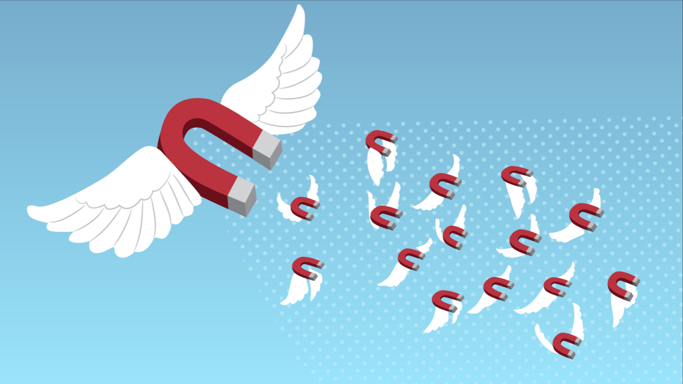 illustration of magnets flying with wings in a blue sky