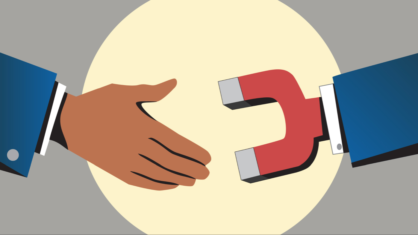 Illustration of a dark hand shaking hands with a magnet hand