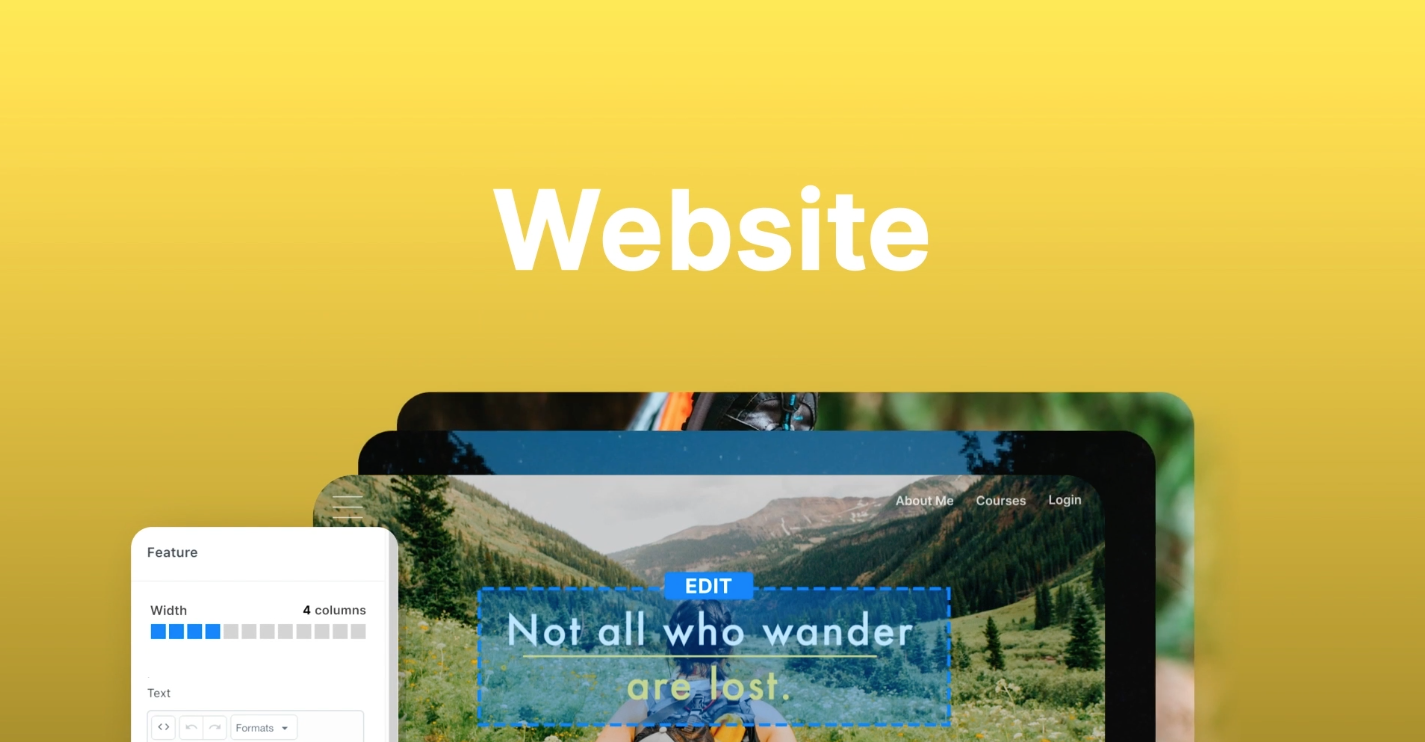 Graphic with a yellow background and representation of building a website