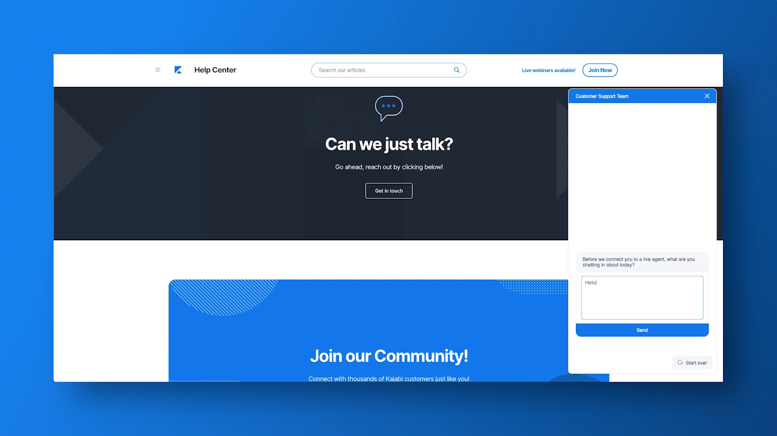 Blue graphic with the Kajabi Chat support bubble