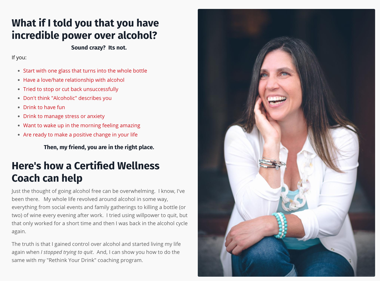 screenshot of the Rethink your Drink website with a photo of a smiling woman and copy about overcoming alcohol abuse