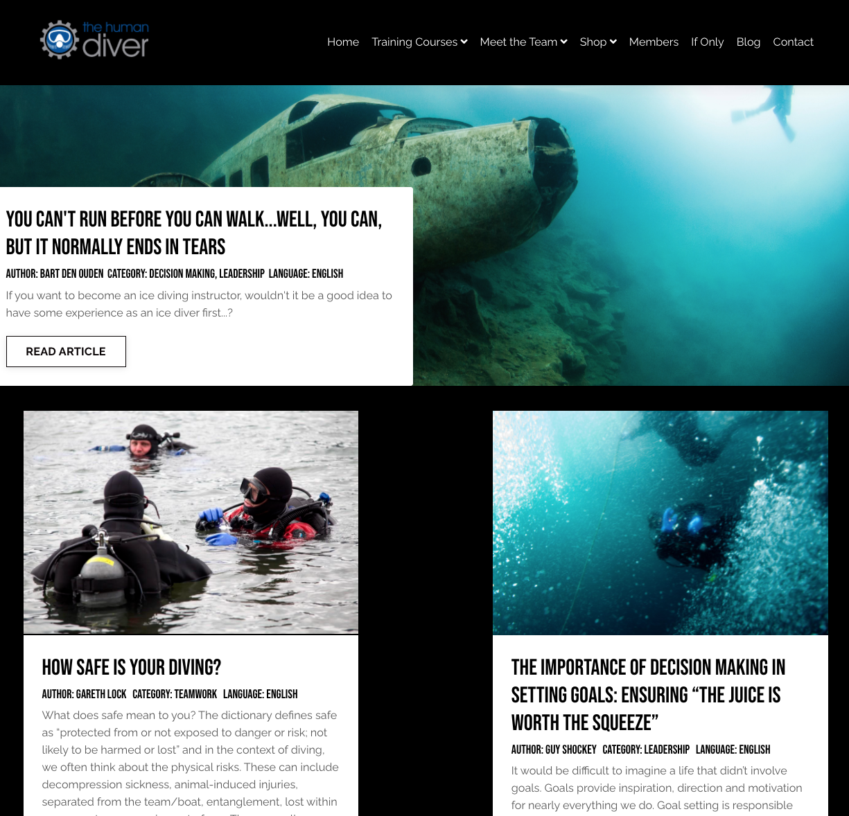 Screenshot of The Human Diver blog with articles and images about scuba diving