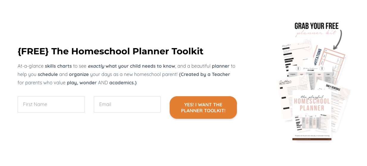 form for a Free Homeschool Planner Toolkit lead magnet from Brillante Beginnings