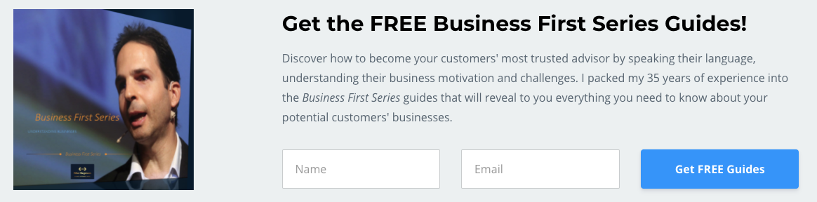 Form with an offer for free business guides from Mor Sagmon