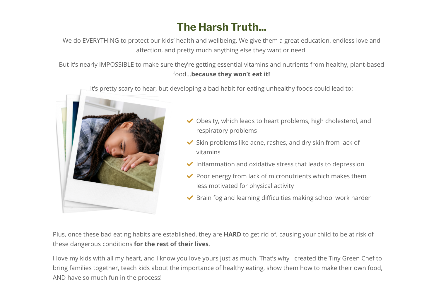 Screenshot of the Tiny Green Chef website discussing the pitfalls of unhealthy childhood eating