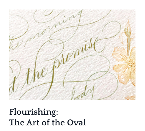 Screenshot with a course titled Flourishing: The Art of the Oval with an image of calligraphy text on white paper