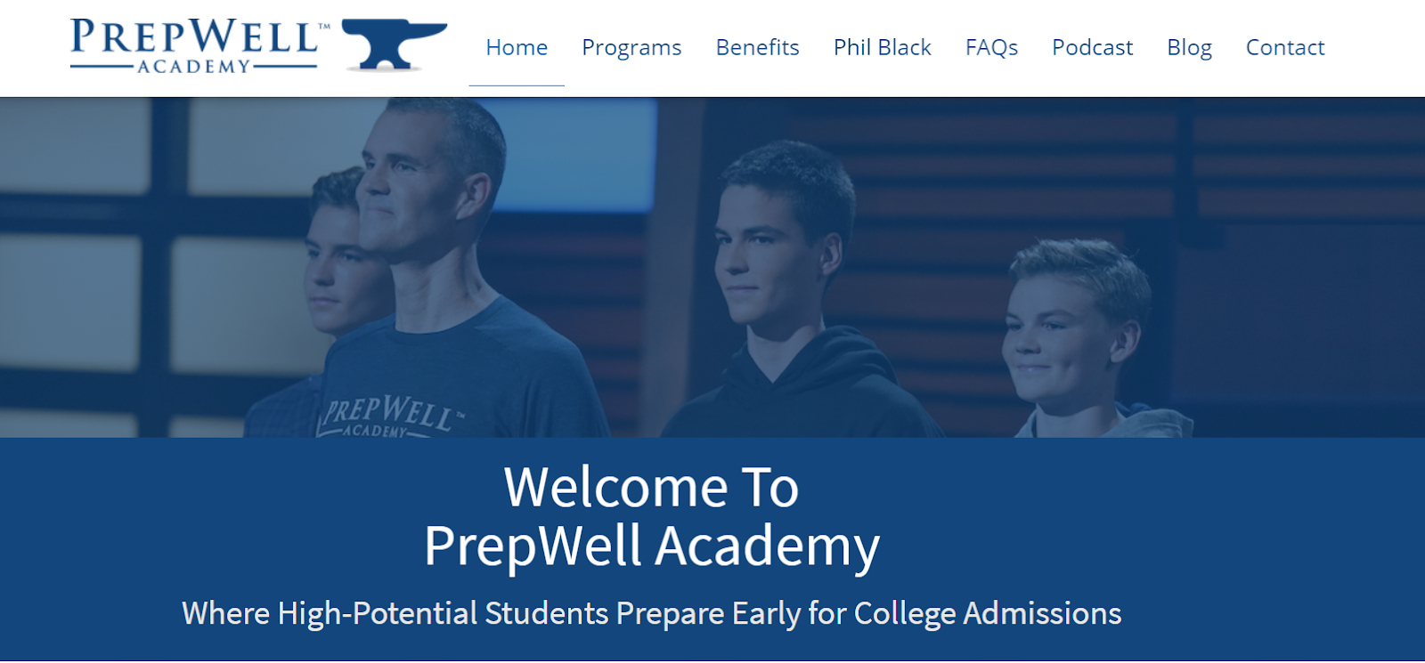 Screenshot of Prepwell Academy featuring photo of man and three boys