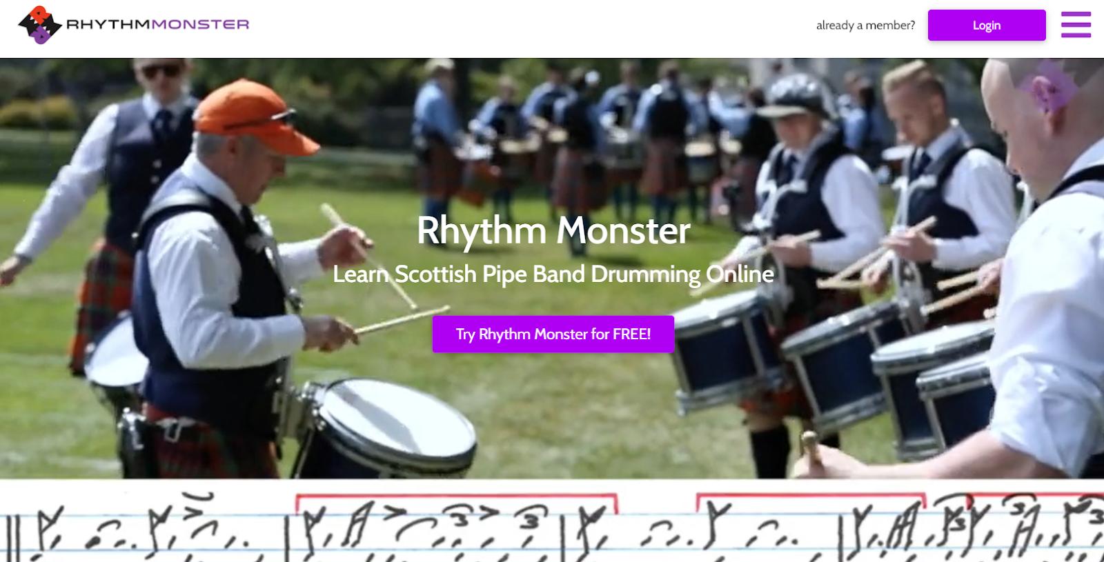 Screenshot of the Rhythm Monster drumming website