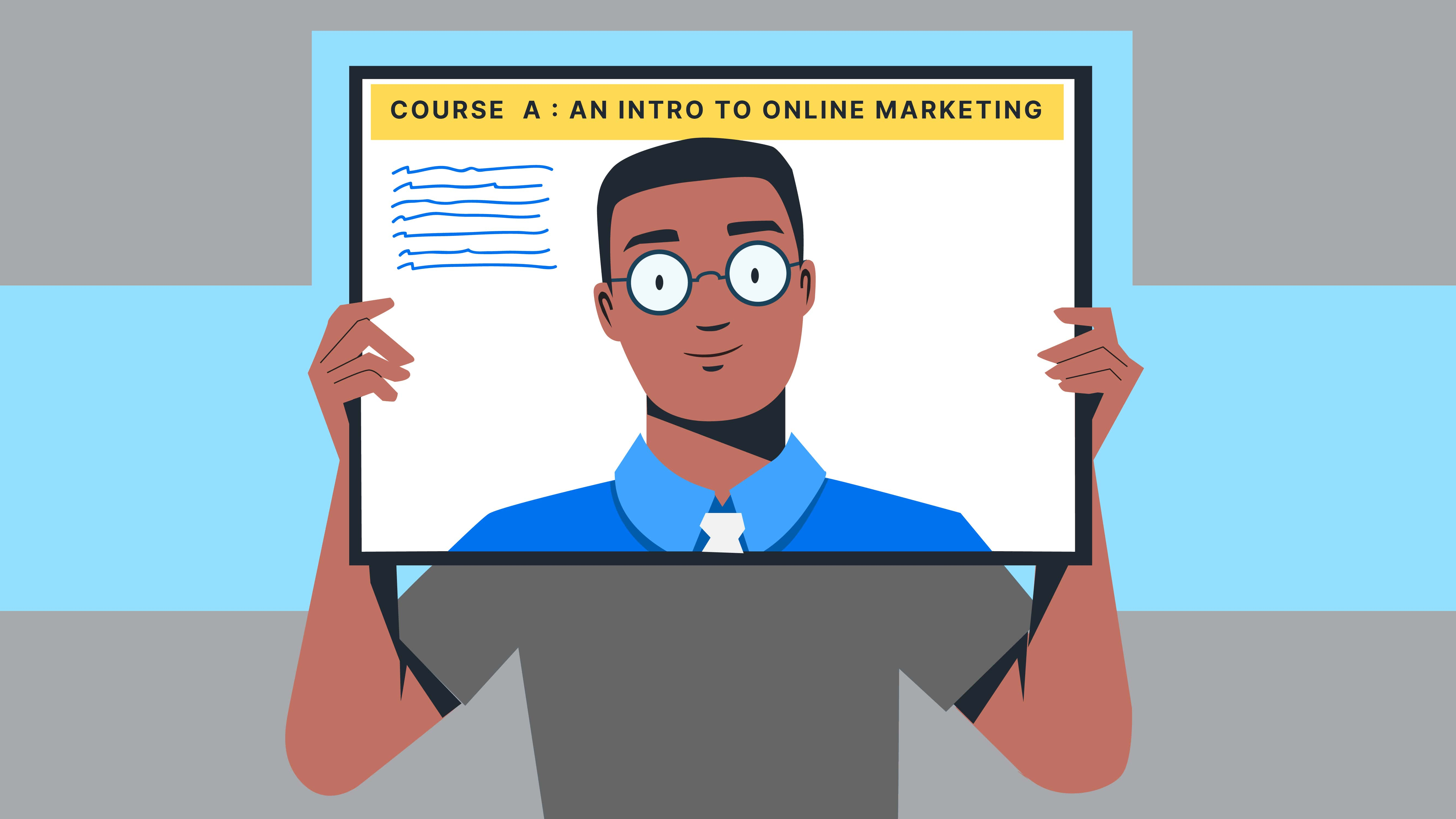 illustration of a man teaching a course called Intro to Online Marketing