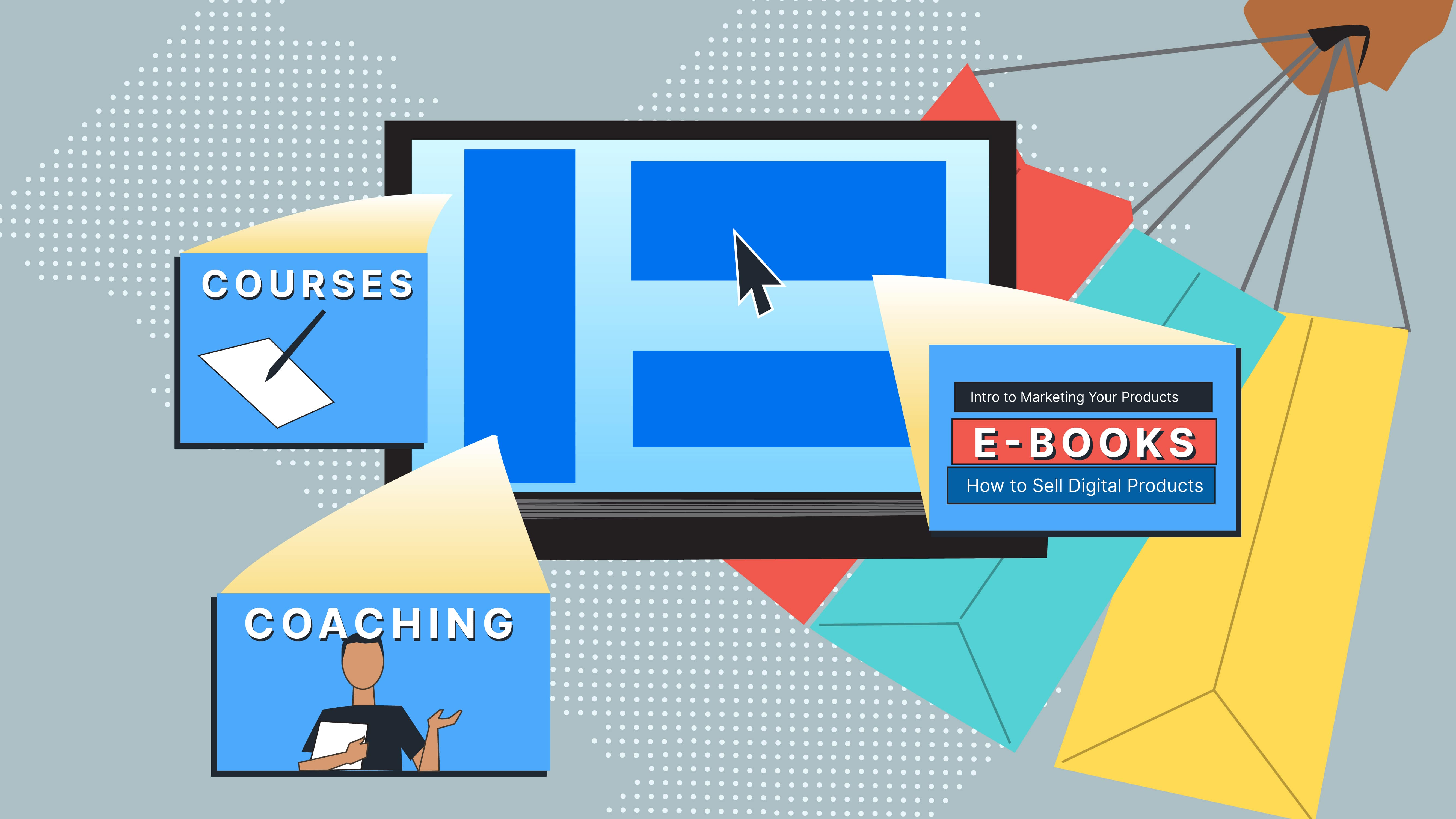 Illustration of a website with courses, coaching, and ebooks for sale on a sage green backdrop