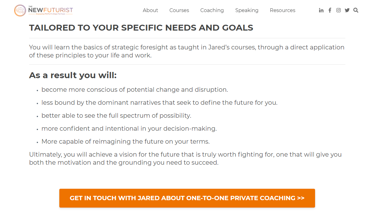 Screenshot of the NewFuturist website describing how their coaching is tailored to specific needs