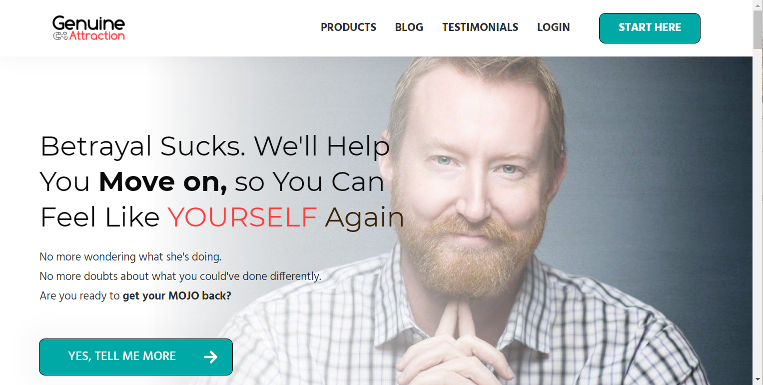 Screenshot of the Genuine Attraction website with an image of a contemplative man
