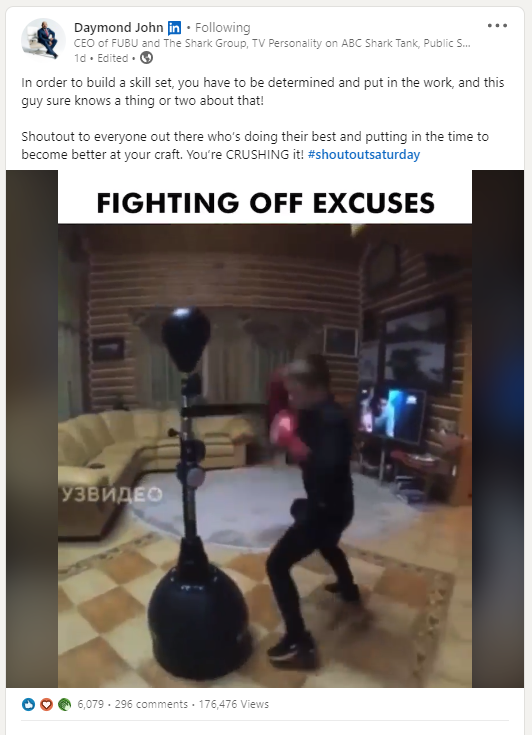 screenshot of a LinkedIn post from Daymond John with an image of someone using a punching tool