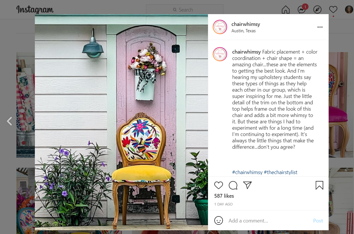 Screenshot of a chairwhimsy Instagram post of a chair infront of a house