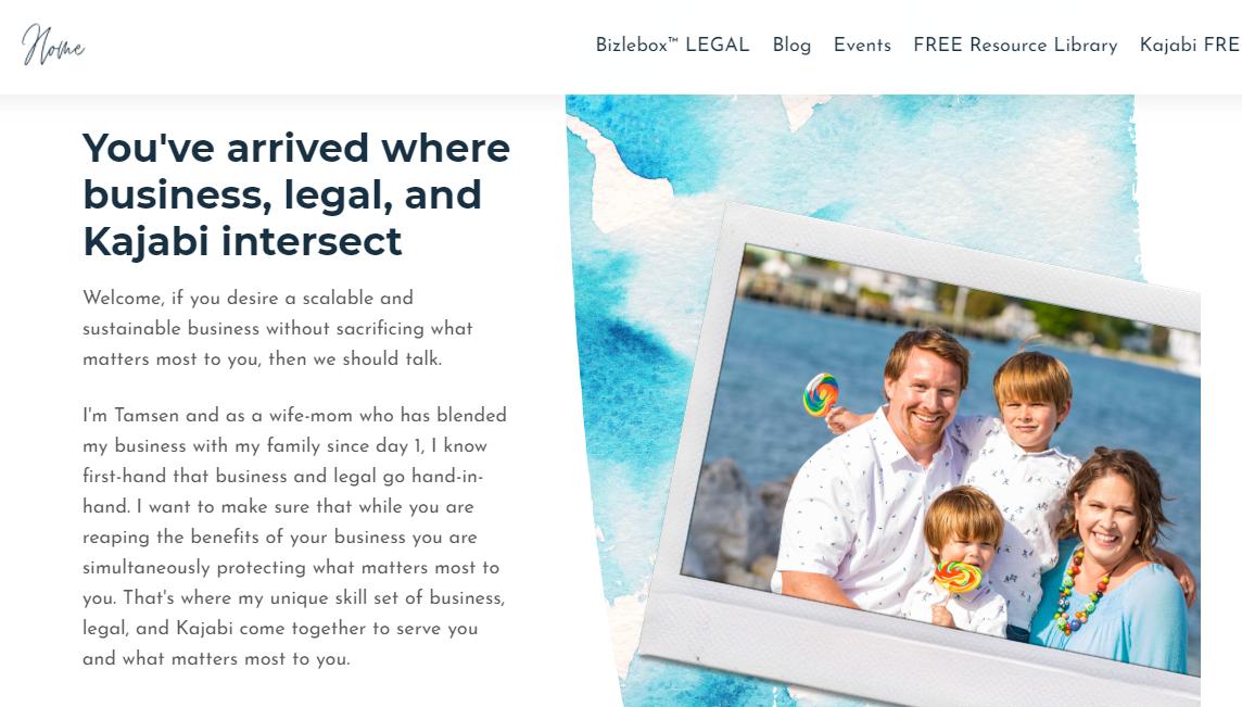 Screenshot of Tamsen Horton's website describing her services