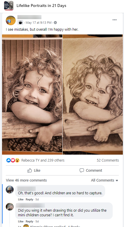Screenshot of a post within a Facebook group of an illustration of a young child