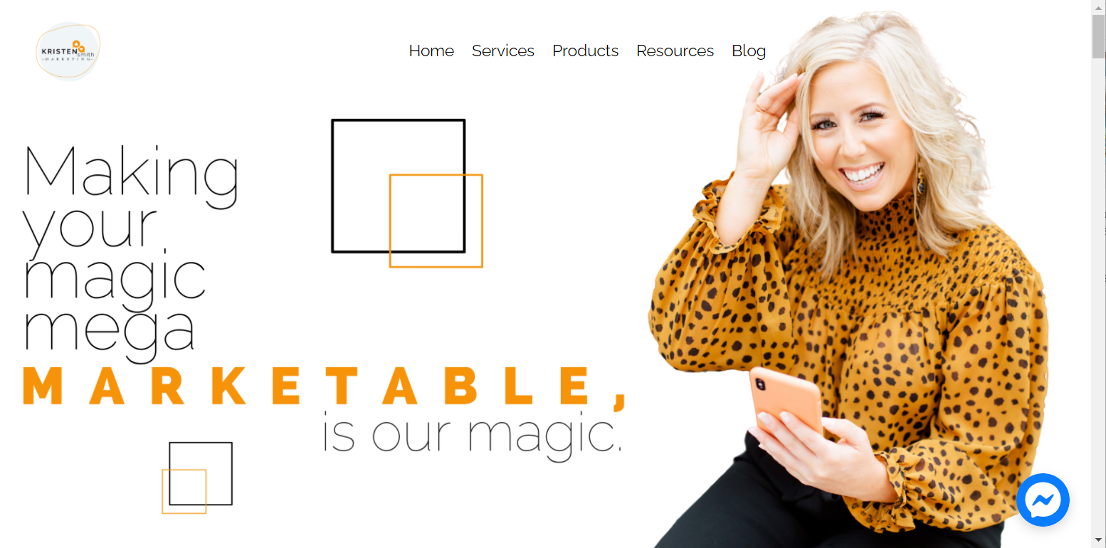 screenshot of the Kristen Smith Marketing website with an image of a blonde woman smiling