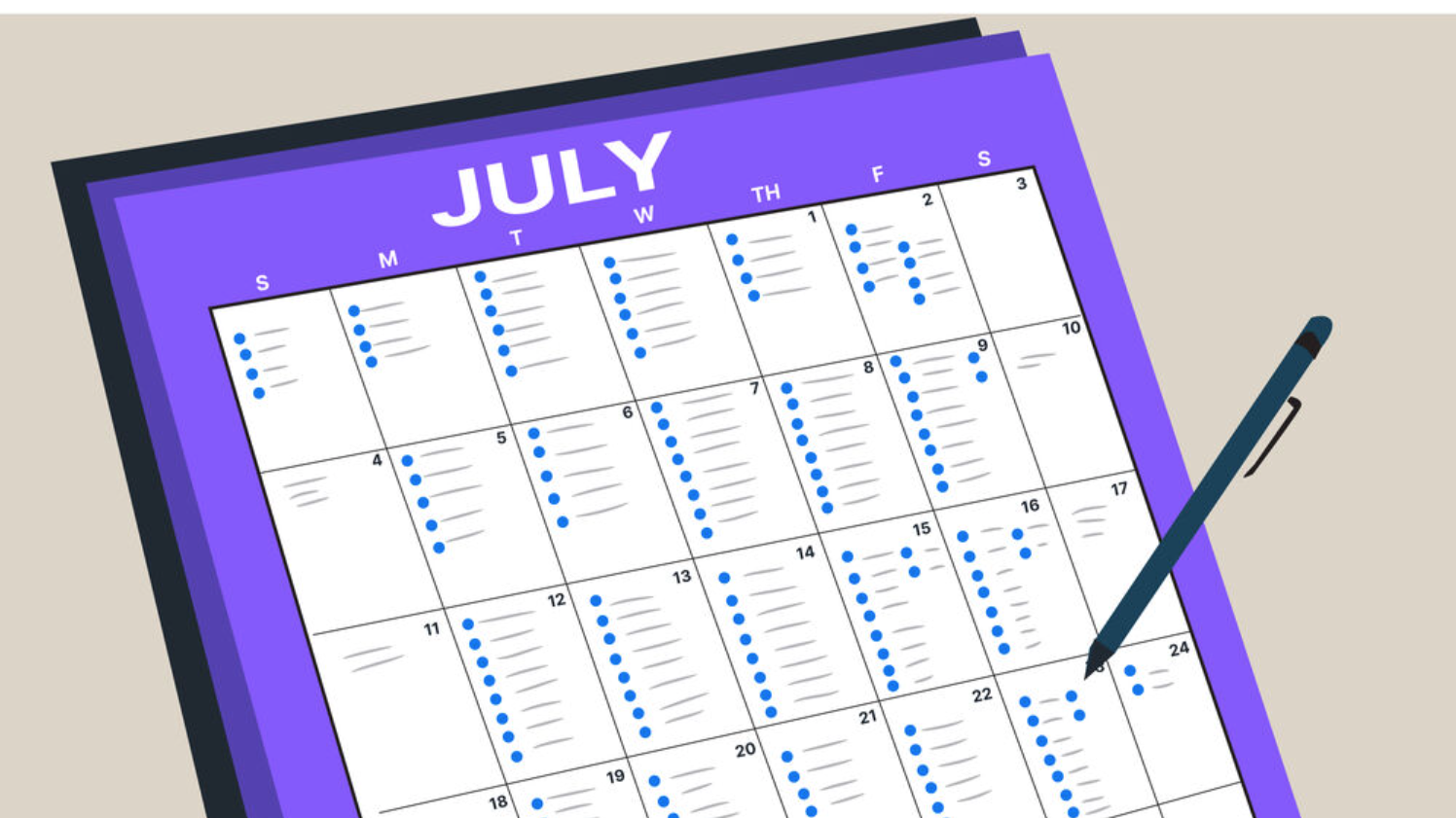 Illustration of a booked July calendar